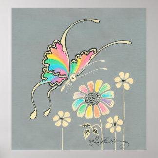 De Vlinder van de Fantasie van de regenboog Poster