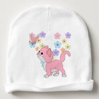 De Vlinder van de Meisjes van het baby bloeit Roze Baby Mutsje