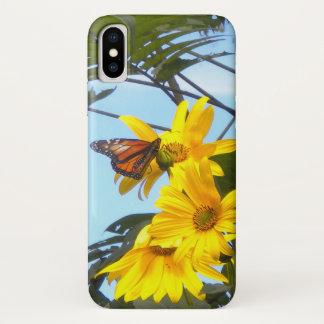 De Vlinder van de monarch op de Gele Zonnebloem iPhone X Hoesje