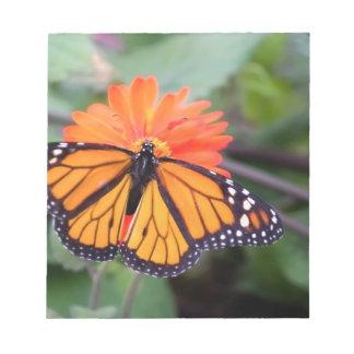 De vlinder van de monarch op oranje bloem notitieblok