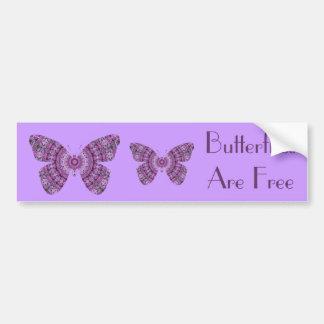 De vlinders zijn Vrije, paarse fractal vlinders Bumpersticker