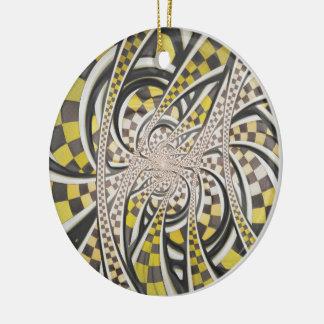 De vloeibare Cabine van de Taxi, Gele Geruite Rond Keramisch Ornament