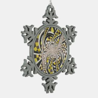 De vloeibare Cabine van de Taxi, Gele Geruite Tin Sneeuwvlok Ornament