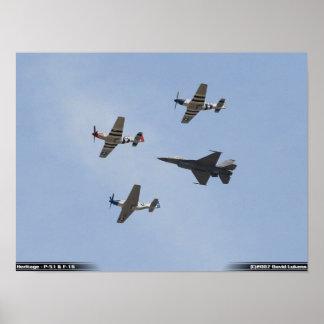 De Vlucht van de erfenis - Mustang p-51 en F-16 Va Poster