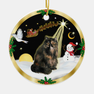 De Vlucht van de nacht (GW) - Perzische kat Tortie Rond Keramisch Ornament