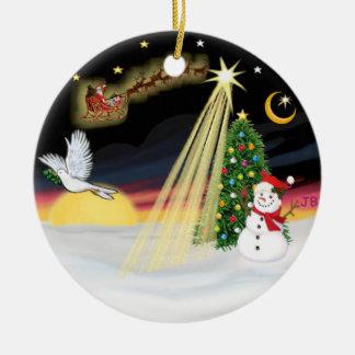 De Vlucht van de nacht - voeg uw eigen huisdier Rond Keramisch Ornament