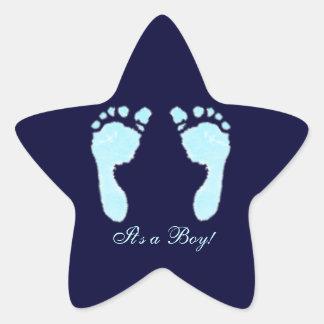 De Voetafdrukken van het baby (Jongen) Ster Stickers
