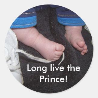 De Voeten van het baby, leven lang de Prins! Ronde Sticker