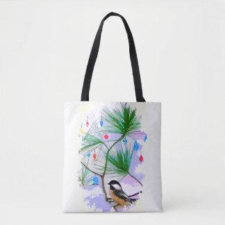 De Vogel van Chickadee in het Canvas tas van de