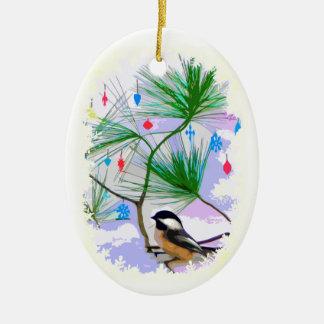 De Vogel van Chickadee in het Ornament van de