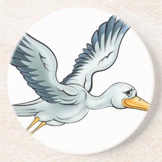 De Vogel van de Cartoon van de ooievaar Zandsteen Onderzetter