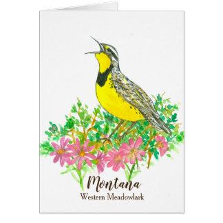 De Vogel van de staat van Montana Gele Westerne Briefkaarten 0