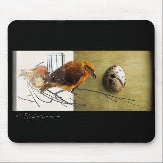 De vogelcollage Mousepad van Grossbeak van de pijn Muismatten