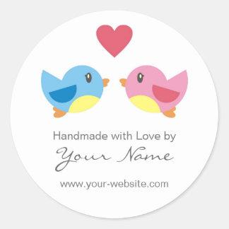 De Vogels van de liefde Met de hand gemaakt door Ronde Sticker