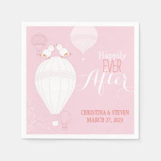 De Vogels van de liefde op het Roze Huwelijk van Papieren Servetten