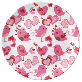 De Vogels van de Liefde van Valentijn Porselein Bord