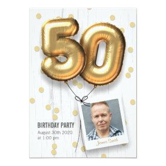 de Volwassen Gouden Ballons van de 50ste van de 12,7x17,8 Uitnodiging Kaart