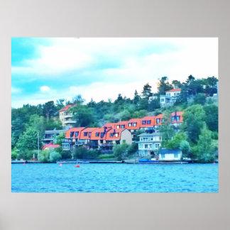 De voorhuizen van het meer, Zweden Poster