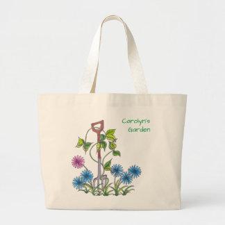 De vork en de bloemen, personaliseerden uw naam grote draagtas