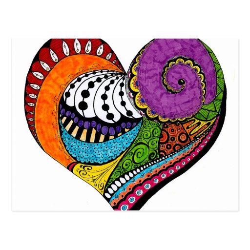 De vorm van het hart op briefkaart - gekleurde Zen Wenskaarten