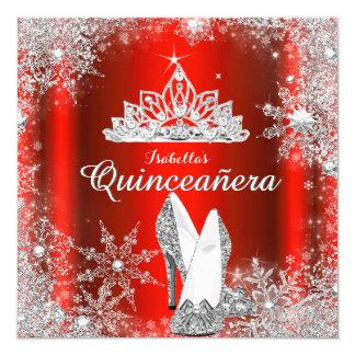 De vorstelijke Rode Quinceanera Zilveren Kaart