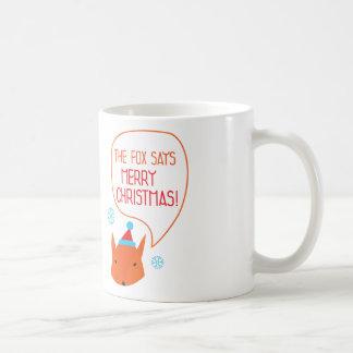 De vos zegt Vrolijke Kerstmis! Koffiemok