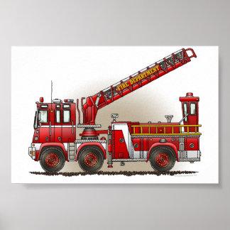 De Vrachtwagen van de Brand van de haak en van de  Poster