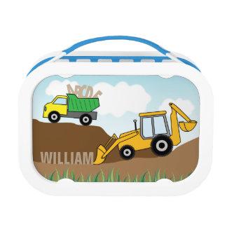 De Vrachtwagen van de stortplaats en Backhoe met Lunchbox