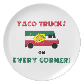 De Vrachtwagens van de taco op Elke Hoek Diner Bord