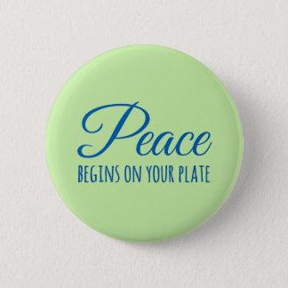 """De """"vrede begint op uw bord"""" knoop ronde button 5,7 cm"""