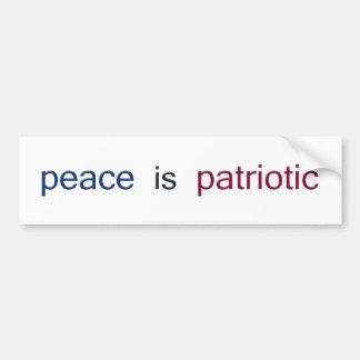 de vrede is patriottisch bumpersticker