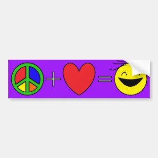 De vrede plus Liefde evenaart (Paars) Geluk Bumpersticker