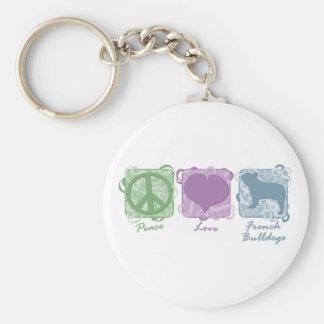 De Vrede van de pastelkleur, Liefde, en Franse Bul Basic Ronde Button Sleutelhanger