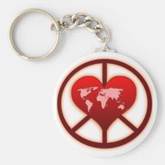 De Vrede van de wereld Basic Ronde Button Sleutelhanger
