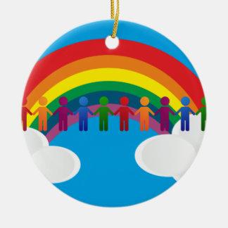 De vredesvlag van de regenboog rond keramisch ornament