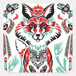 De vreedzame Vos van de Indiaan van het Noorden Vierkante Sticker