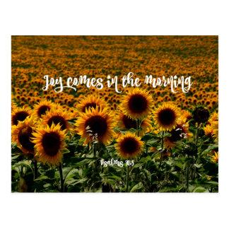 De vreugde komt in het Vers van de Ochtend Briefkaart