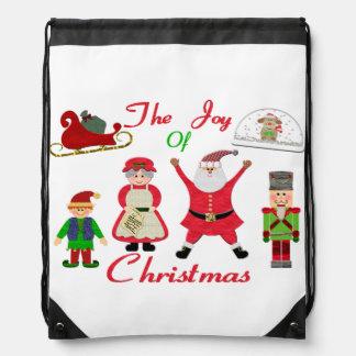 De vreugde van de Collage van Kerstmis Trekkoord Rugzakje