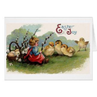 De Vreugde van Pasen!  Het vintage Wenskaart van