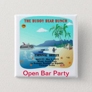 De vriend draagt de Open Partij van de Bar Vierkante Button 5,1 Cm