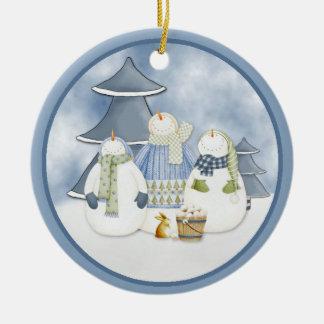 De Vrienden van de sneeuw sieren Rond Keramisch Ornament