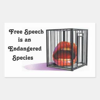 De vrije Toespraak is Bedreigde Species Rechthoekige Sticker