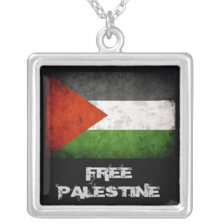 De vrije Vlag van Palestina Grunge Zilver Vergulden Ketting