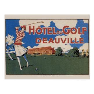 De vroege Vintage Franse Vrouwelijke Golfspeler Briefkaart