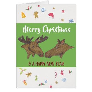 De vrolijke Amerikaanse elanden van Kerstmis Kaart