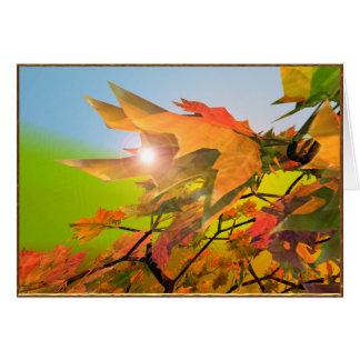 De vrolijke Bladeren van de Esdoorn van de Herfst Wenskaart