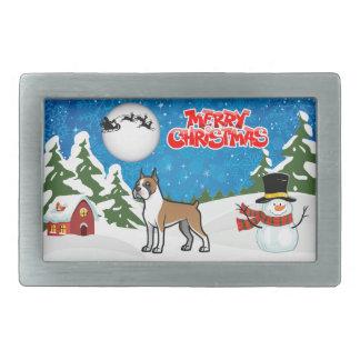De vrolijke Bokser van Kerstmis met een Sneeuwman Gespen