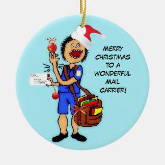 De vrolijke Drager van de Post van Kerstmis Rond Keramisch Ornament