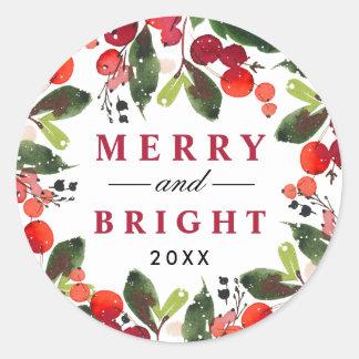 De vrolijke en Heldere Kroon van Kerstmis van de Ronde Sticker