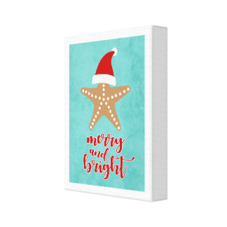 De vrolijke en Heldere Zeester van de Kerstman van Canvas Afdrukken